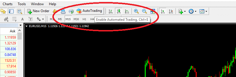 activate autotrading in mt4