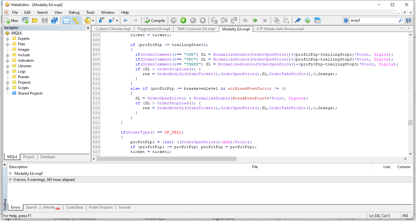metaeditor mql4 development window