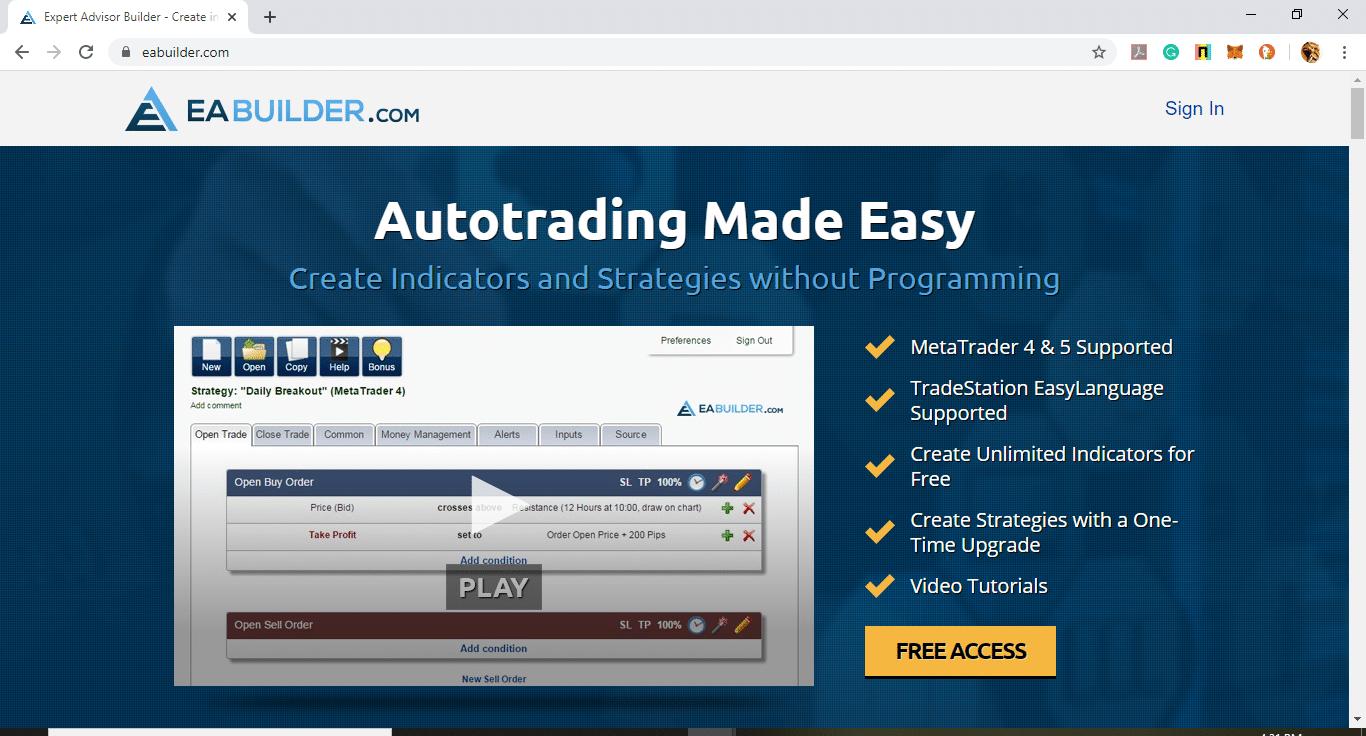 EA Builder Main Page