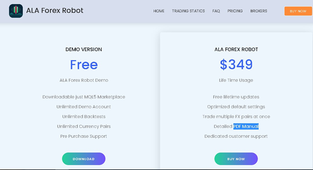 ALA Forex Robot Product Offering