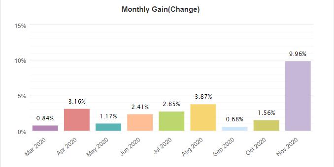 Ninja Scalper monthly gain