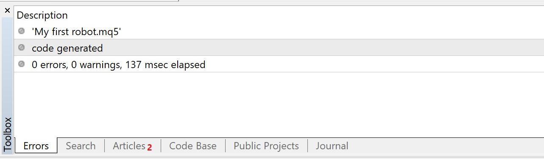 MetaEditor Toolbox panel: Compilation successful, no errors returned