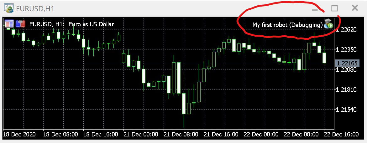 Expert Advisor attached to a EUR/USD chart and data feed