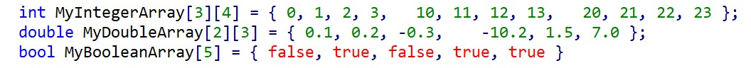 Example of an Integer and double two-dimensional array and a Boolean one-dimensional array