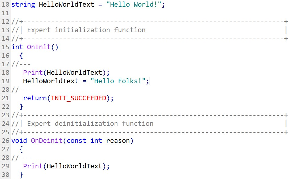 HelloWorldText variable is modified after being used in the function OnInit.