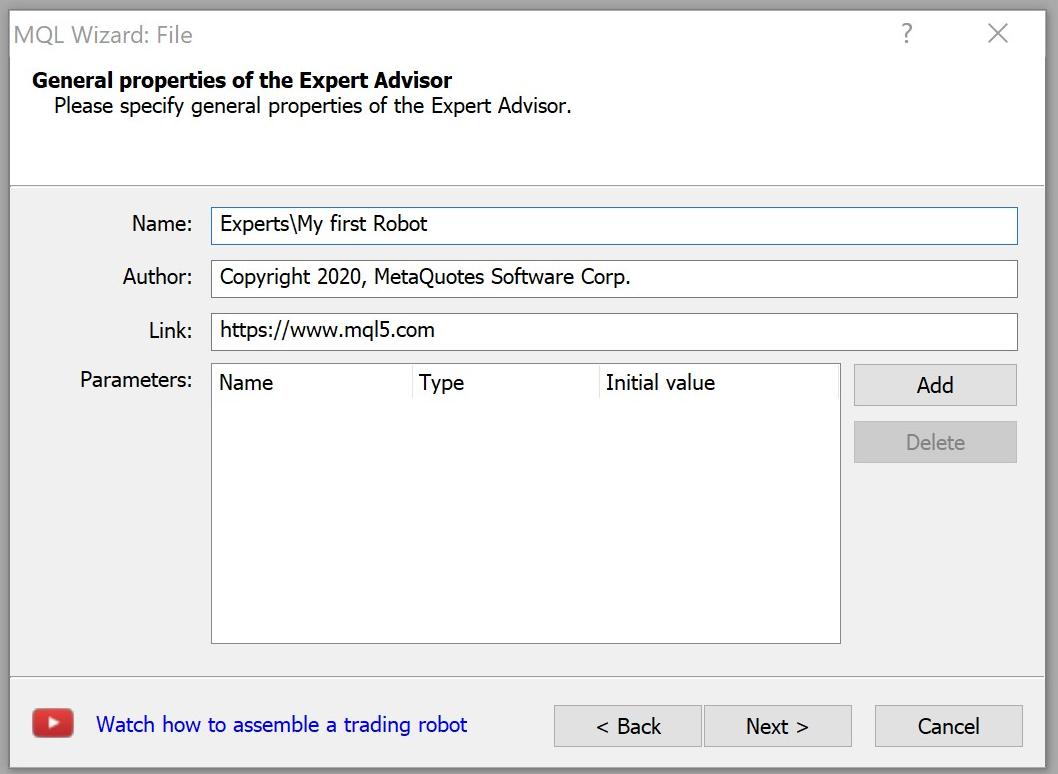 Expert Advisor properties