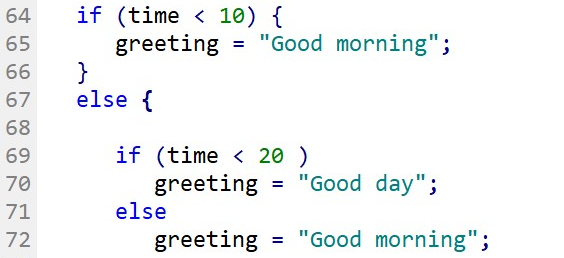 ELSE-IF Block of code simplified a similar result with nested IF and ELSE statements