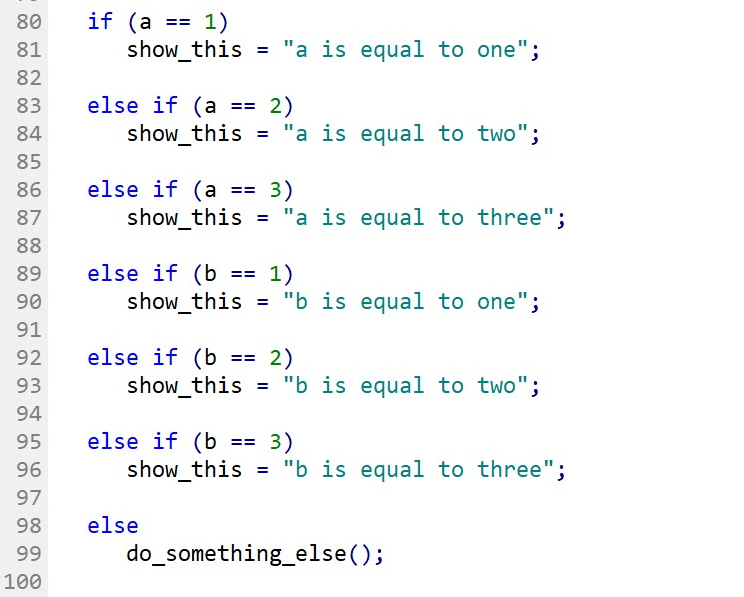 Example of ELSE-IF statement with multiple ELSE-IF conditions from different variables.
