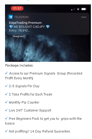 Edge Trading package includes