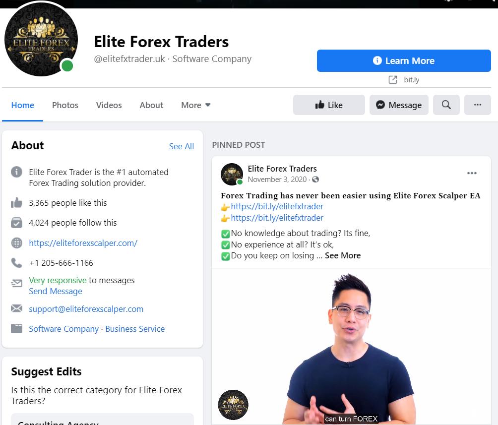 Elite Forex Scalper Facebook profile