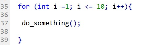 You can declare the iteration variable within the first expression of the FOR statement.