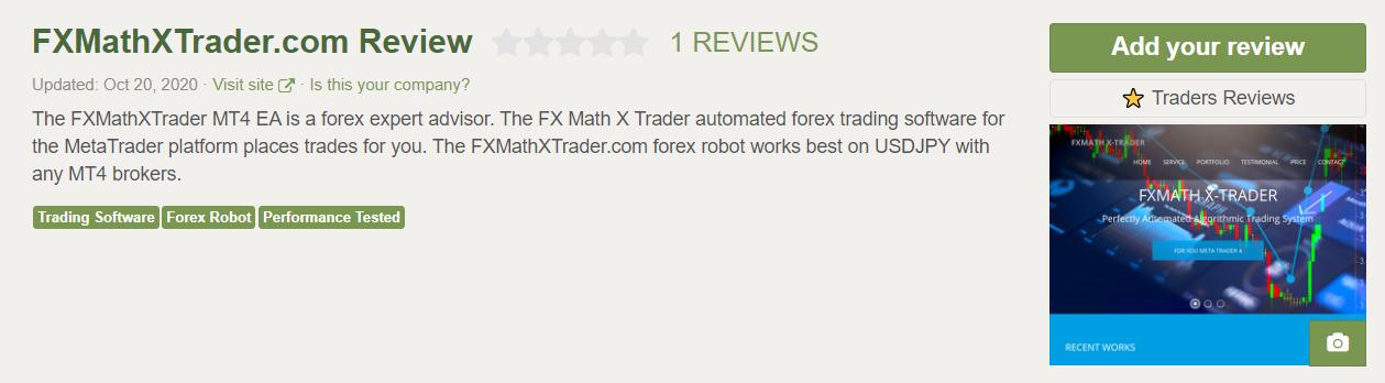 FXMath X-Trader Customer Reviews