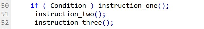Same if Statement that Fig.59 with if-statement and instruction on the same line of code