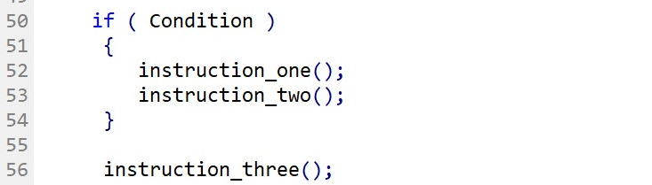 Full If-Statement format with curly brackets to delimit more than one instruction