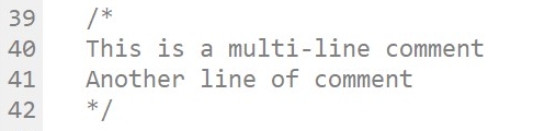 The multi-line comments block starts with slash and asterisk (line 39) and ends with asterisk slash (line 42).
