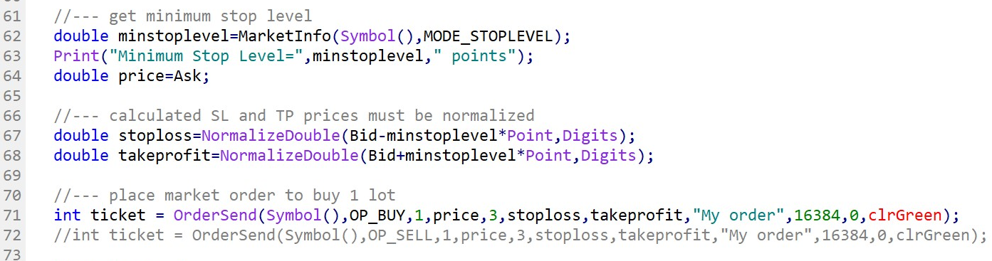 Example of the use of comment to ignore a line of code for testing purposes.