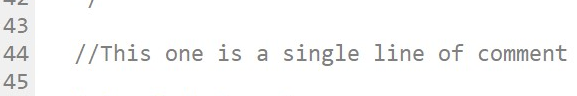 Single-line comments start with a double slash. Note that single-line comments do not require an ending tag.