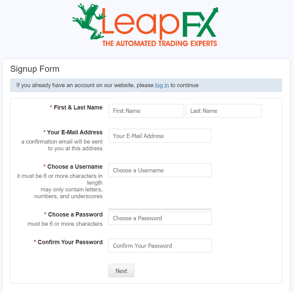 LeapFX Signup Form