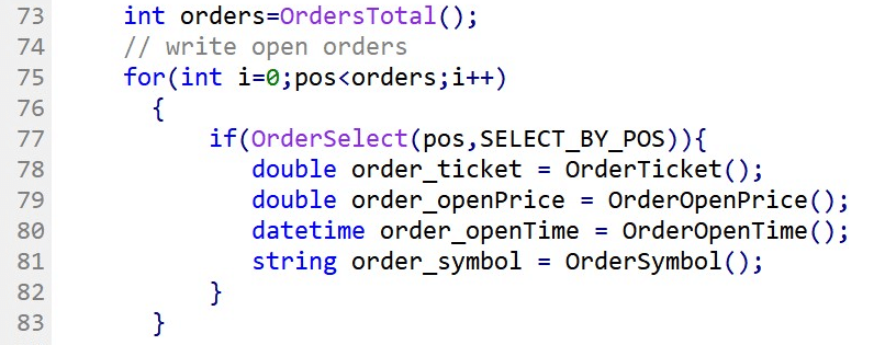 MQL4. Example of collecting order ticket id, open price, open date, and symbol from an opened trade.