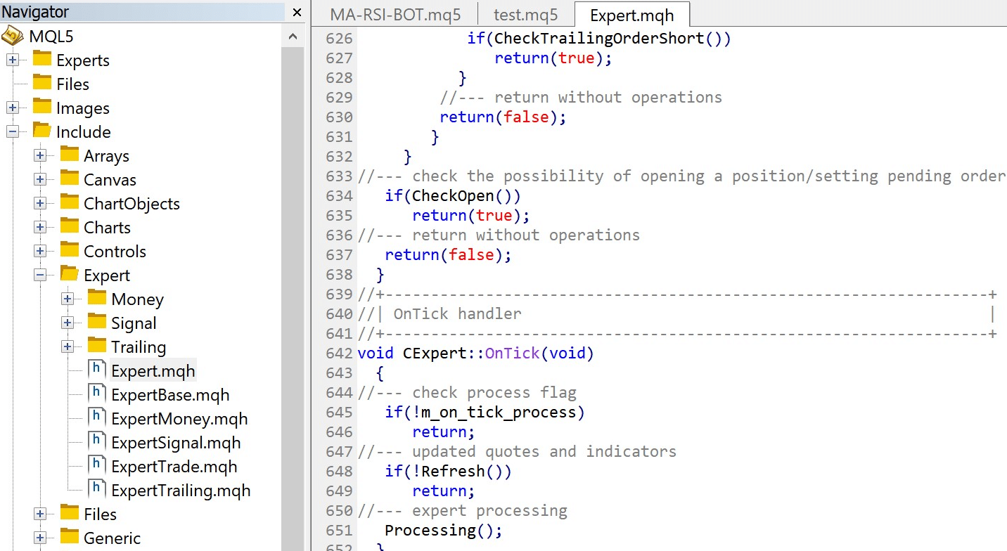 How to view code from the Expert object in the Expert library