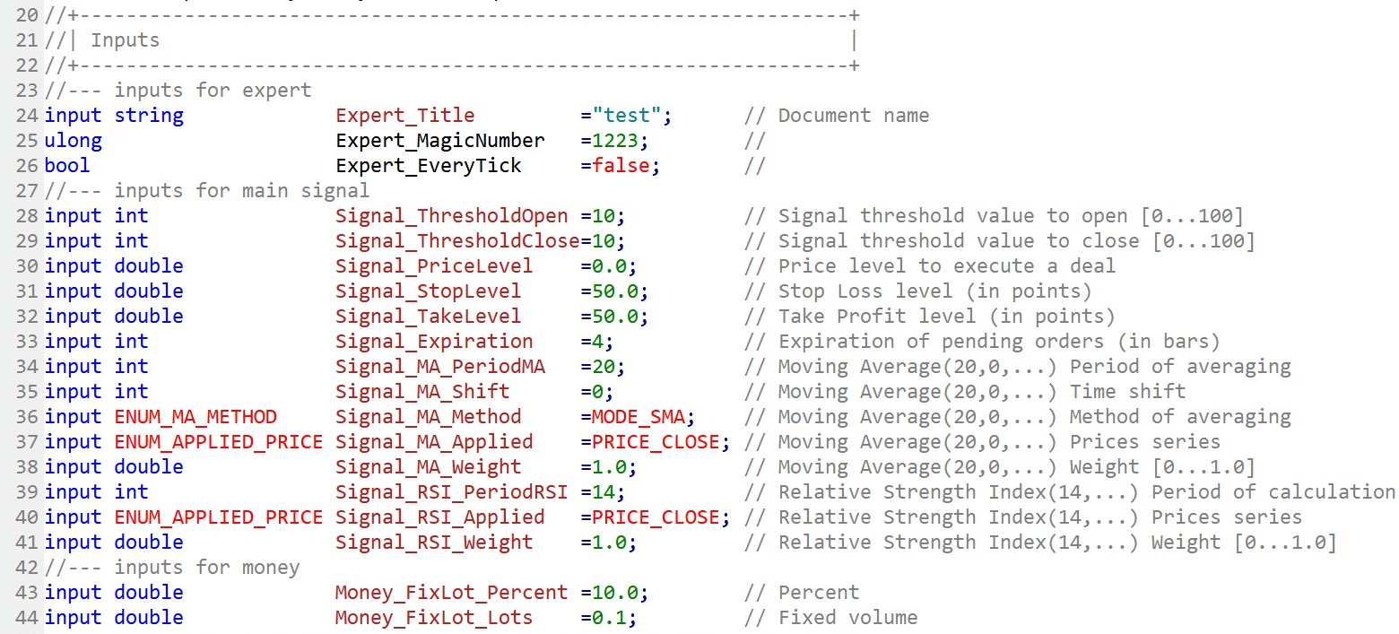 Declaration of input variables