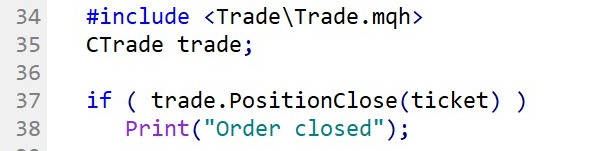 Close a market order with MQL5.