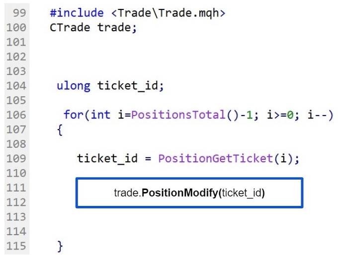 Fig.109 Sequence of modification of an active trade in MQL5