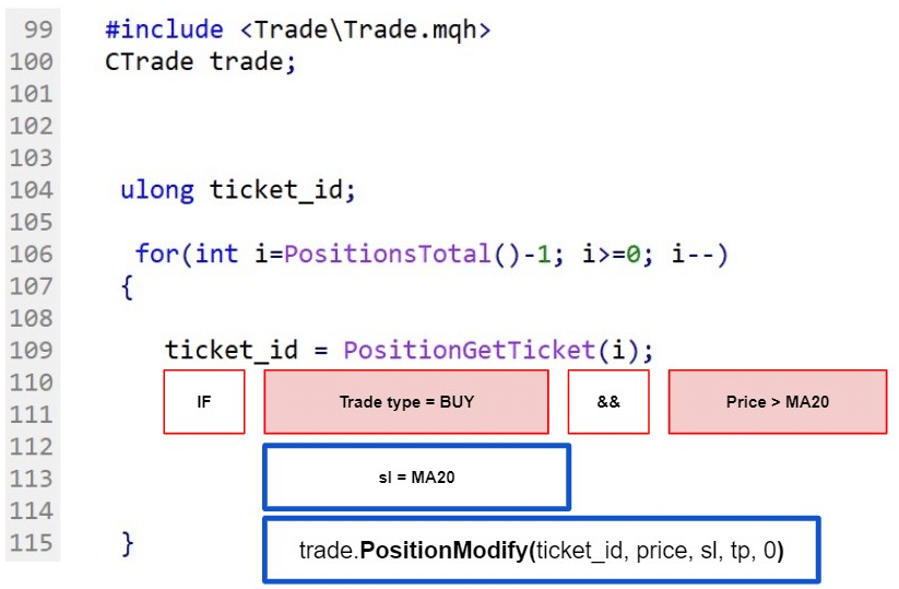 Fig.113 Select an active trade in MQL5