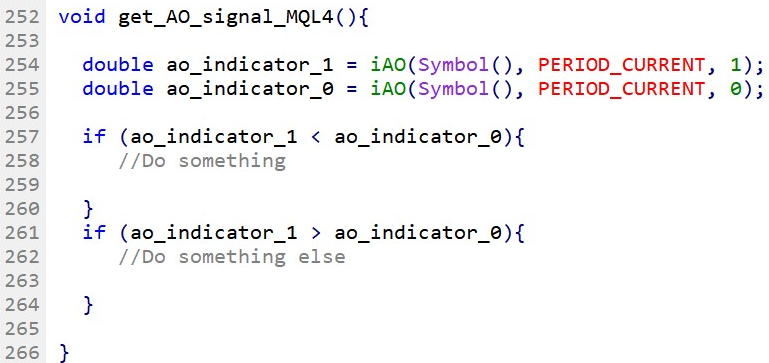 Compare Awesome Oscillator current bar with the previous bar in MQL4