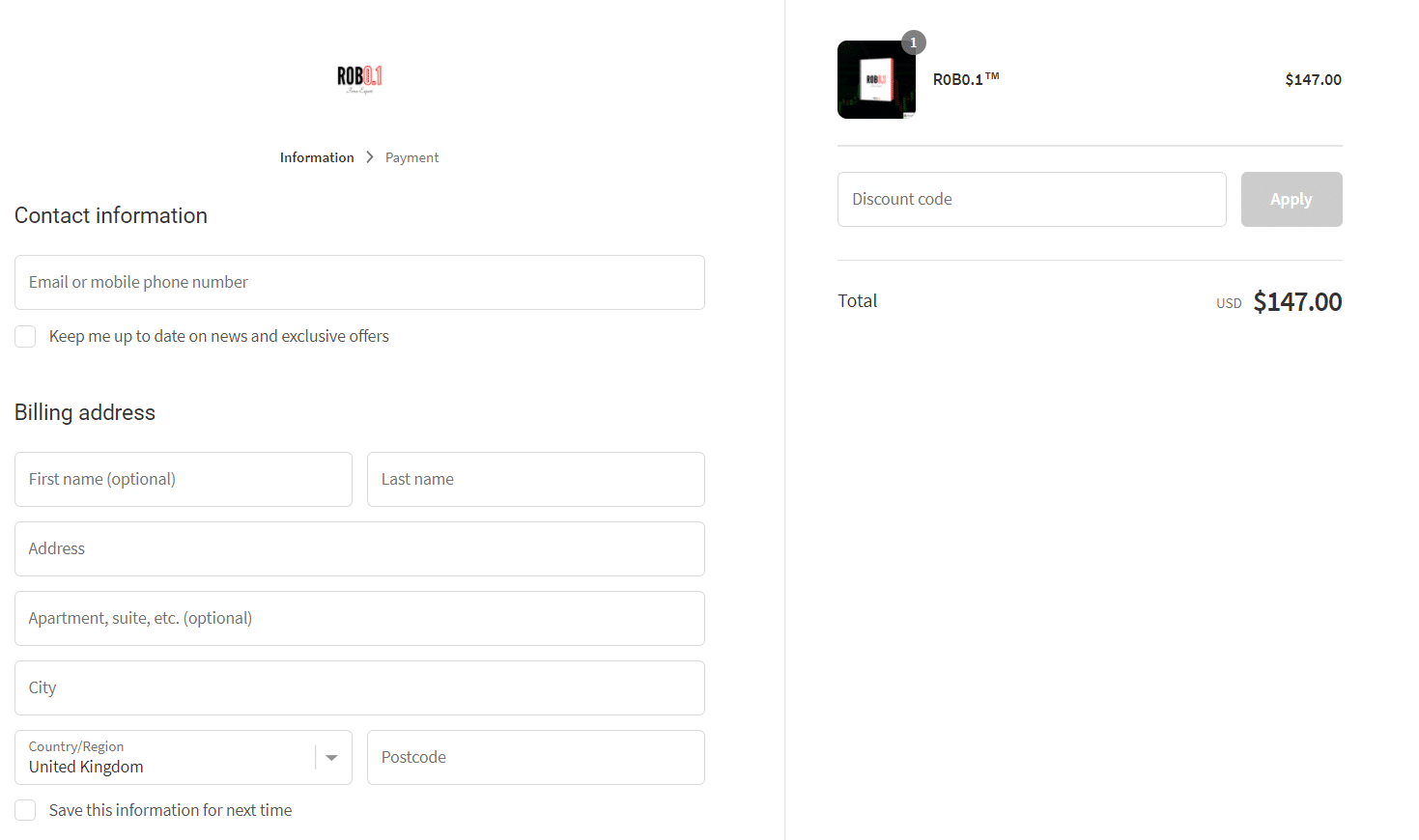 R0B0.1. We have to provide the developers with all our private and card information to get this robot.
