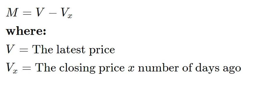 Momentum indicator formula
