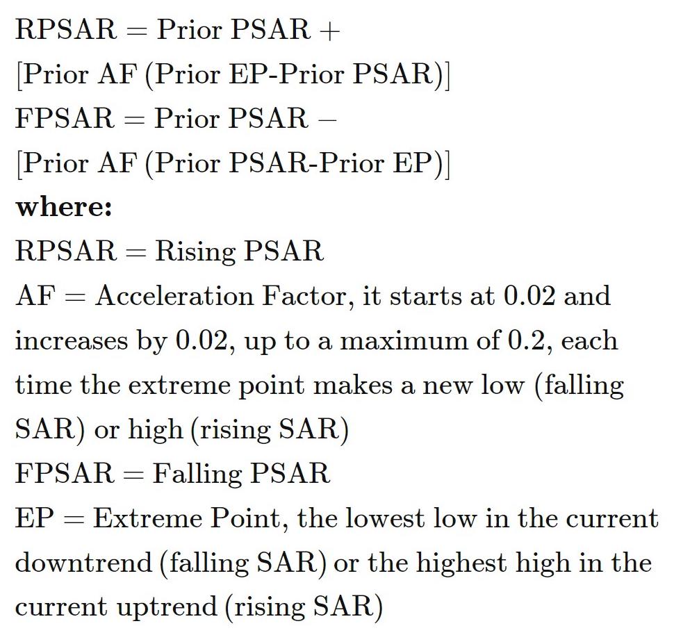 Parabolic SAR Formula