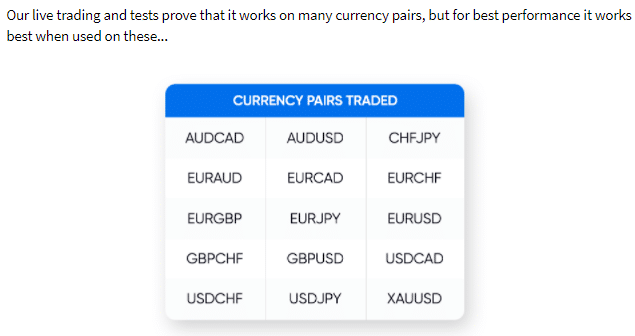The currency pairs that DynaScalp works on.