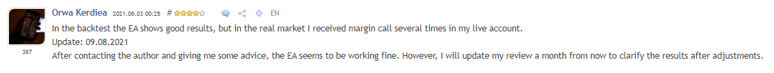Customer review on MQL 5 marketplace.