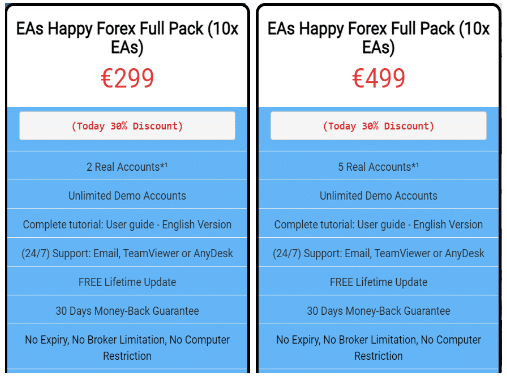 Happy Gold's pricing packages.
