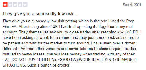 User complaining of heavy losses with Prop Firm EA.