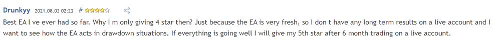Customer mentioning that the EA does not reveal its true performance.