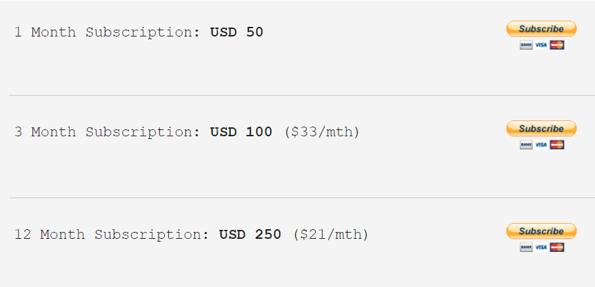 The pricing system of the EA.