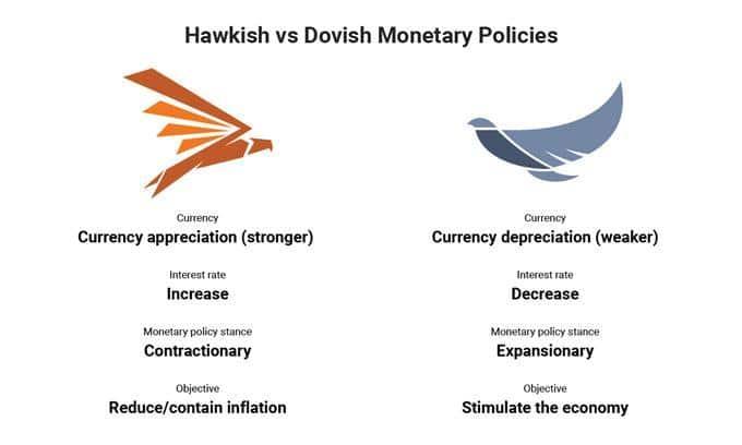 Image showing a summary of hawkish and dovish monetary policies