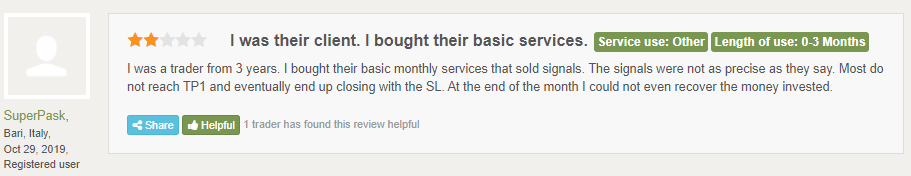 Customer review on FPA.